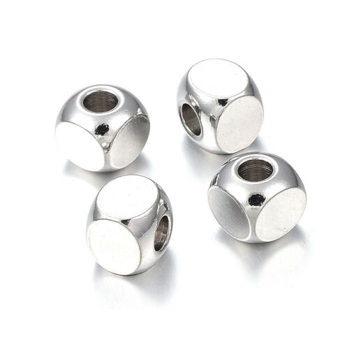 20pcs 304 Stainless Steel Cube Metal Beads Smooth Loose Spacer Tiny Craft 6x6mm
