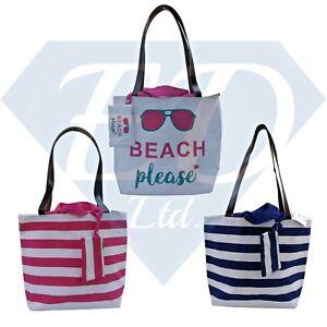 Beach Bag Womens Ladies Large Striped Summer Shoulder Shopper Tote Canvas Bags