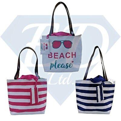 Womens Ladies Large Cotton Shoulder Shopper Tote Canvas Bags Beach Bag Strong UK