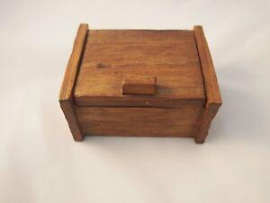 Vintage keepsake handmade trinket name card holder jewelry storage  wooden box .