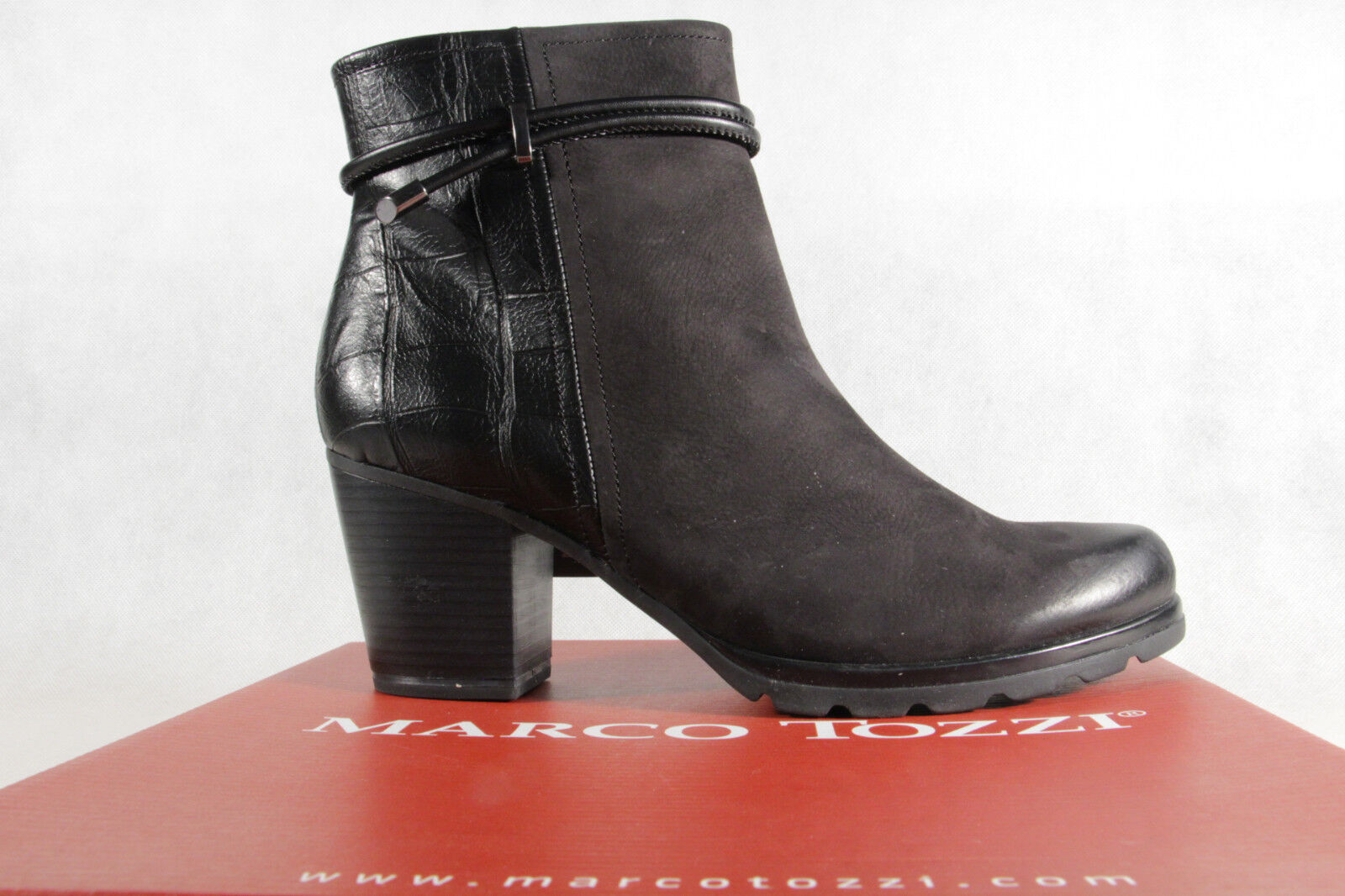MARCO TOZZI Ankle Boot Boots, Black, Leather 25454 NEW