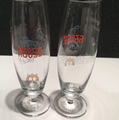 Pilsner Urquell Stemmed Pint Glasses X2 New /& Unused