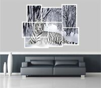 Huge Collage View Snow Tiger Wall Stickers Mural Wallpaper S18