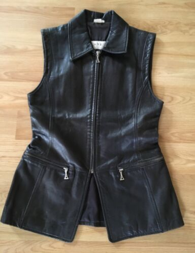 ANNE KLEIN Black Leather Vest Zip Front Zip Pocket