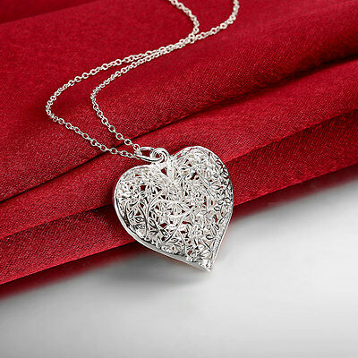925 Sterling Silver Filled Hollow Flower Heart Locket Vintage Pendant Necklace