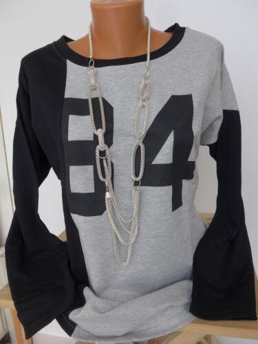 675 Sheego Shirt Sweatshirt Langarm Gr 40//42 schwarz grau mit Muster NEU