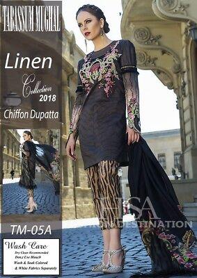 Fein Tabassum Mughal Designer Ready Made Linen Trouser Kamiz Pure Chiffon Duppatta Hindernis Entfernen