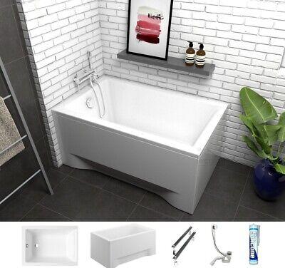 Badewanne Wanne Rechteck Capri 100 120 x 70 Schürze Füße Ablauf Silikon GRATIS