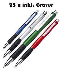 25-x-Boligrafo-de-aluminio-incl-grabado-con-Azul-Mine