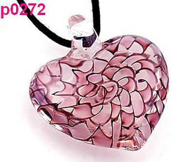 handwork heart lampwork glass beaded pendant necklace p272