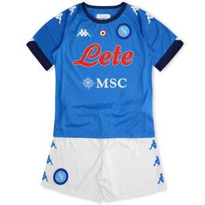 Dettagli su 1 kit maglia e pantaloncino SSC NAPOLI KAPPA 2021 completino nuovo azzurro