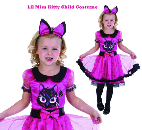 //M 8 6 Girls Fancy Dress Lil Miss Kitty Halloween Pink Cat Witch Costume S:S