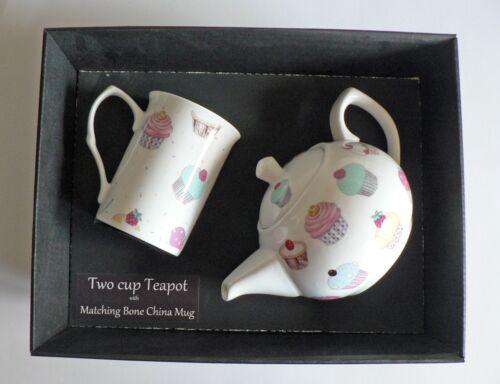 Cupcake 2 cup teapot,with matching bone china mug gift boxed.