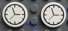 NEW Lego Lot/2 Minifig KITCHEN CLOCKS - Friends White Round 2x2 Train Clock Tile