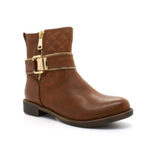 Ladies New Womens Low Chelsea Block Heel Brown Zip Ankle Boots Shoes Size Buckle