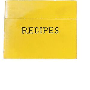 Vintage-Wooden-Recipe-Card-Box-Woodcrest-by-Styson-Yellow-with-Black-Print-Japan