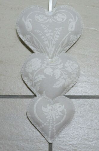 Gift ? 3 x Vertical Hanging Hearts Laura Ashley Josette Fabric Dove Grey White