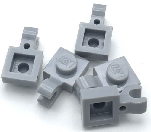 Lego 5 New Light Bluish Gray Plates Modified 1 x 2 with Clips on Top