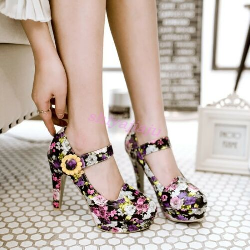 Womens Fashion Retro Sweet Floral Ankle Strap Round Toe Pumps High Heels Shoes