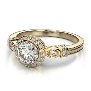 2-98Ct-White-Diamond-Round-Cut-VVS1-Halo-Engagement-Ring-14K-Yellow-Gold-Plated