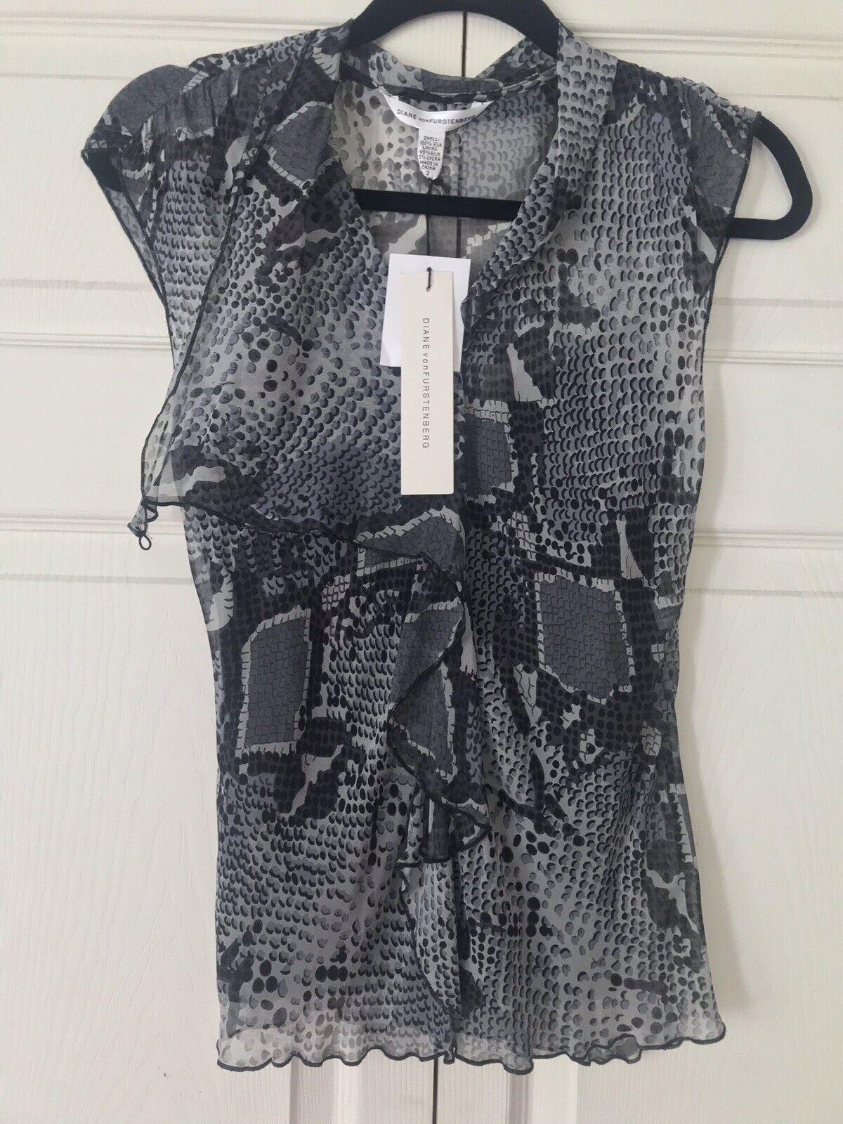 Diane von Furstenberg grau Abstract Leopard Silk Semi-Sheer Blouse Sz 4,6,8 Aval