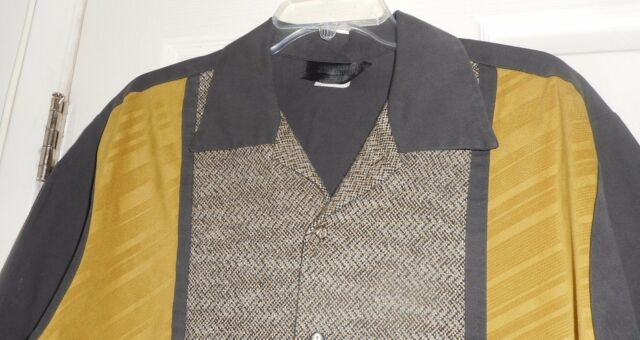 50's-60's TRI TONE Gold Tweed Black 3 Fabric! Button Front ROCKABILLY Hipster XL