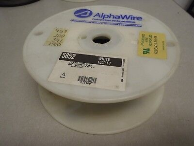 Alpha 5852 White 28ga 28awg Stranded TFE Teflon Wire 1000/' Hook Up Wire L8