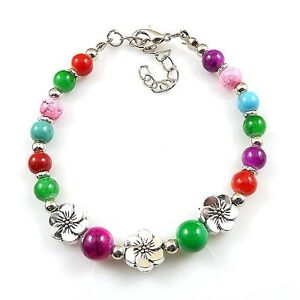 New-HOT-Free-shipping-Tibet-silver-multicolor-jade-turquoise-bead-bracelet-S67