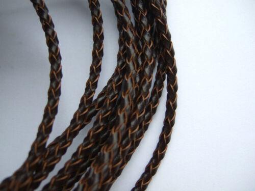 1 metros 3mm Redondo Genuino Bolo Cuero Trenzado Cable Hágalo usted mismo Craft Joyería suministros