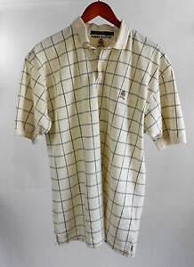 Vintage-Tommy-Hilfiger-Beige-Checked-Embroidered-Crest-Polo-Golf-Shirt-size-L