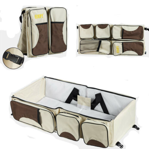 3-in-1 Diaper Tote Bag Baby Bed Travel Bassinet Nappy Changing Station Carrycot