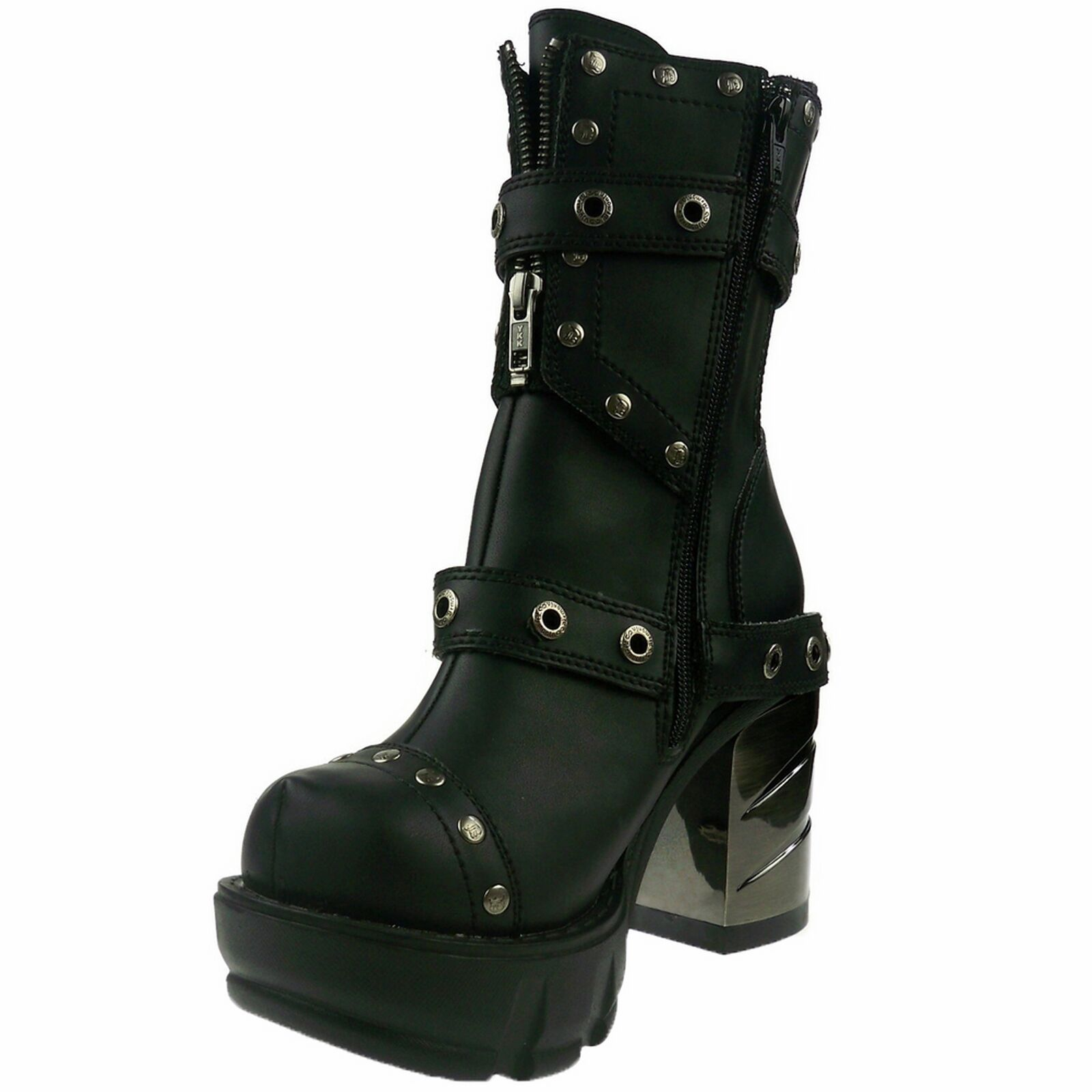 DEMONIA Gothic Womens Platform Studded Ankle Boot Rivet SINISTER-201 Black PU