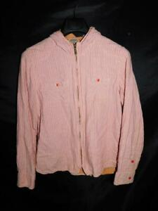 Toad-amp-Co-M-Souffle-Hoodie-Pink-Beige-Stripe-Jacket-Zip-Cotton-Shirt-Layered-Md
