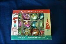 Vintage 12 Glass CRISTMAS ORNAMENTS Poland In Box
