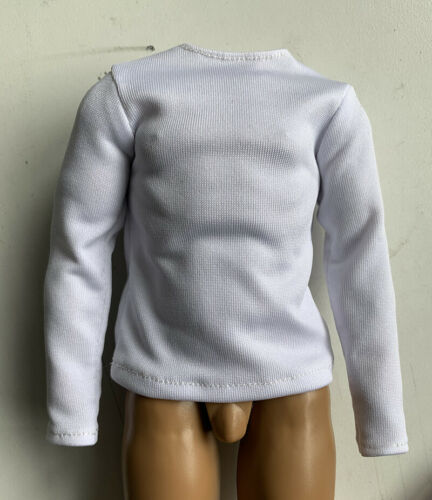 """1:6 Scale White Long Sleeve T-shirt For 12/"""" Male Body Doll Action Figure"""
