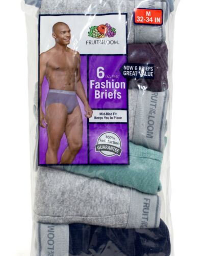 Fruit of the Loom Men/'s Assorted Colors Fashion Briefs 6-Pack