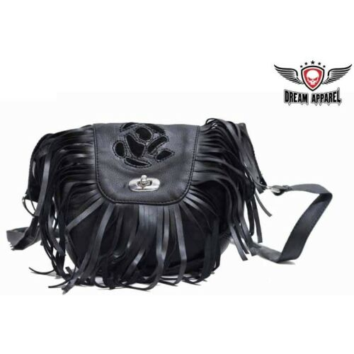 BIKER Motorcycle Genuine LEATHER Womens Black Inlay  Purse #AC2008-LEATHER