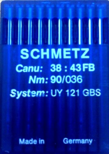 SCHMETZ SYSTEM:UY121GBS CANU:38:43FB NM:90//036 INDUSTRIAL SEWING MACHINE NEEDLE