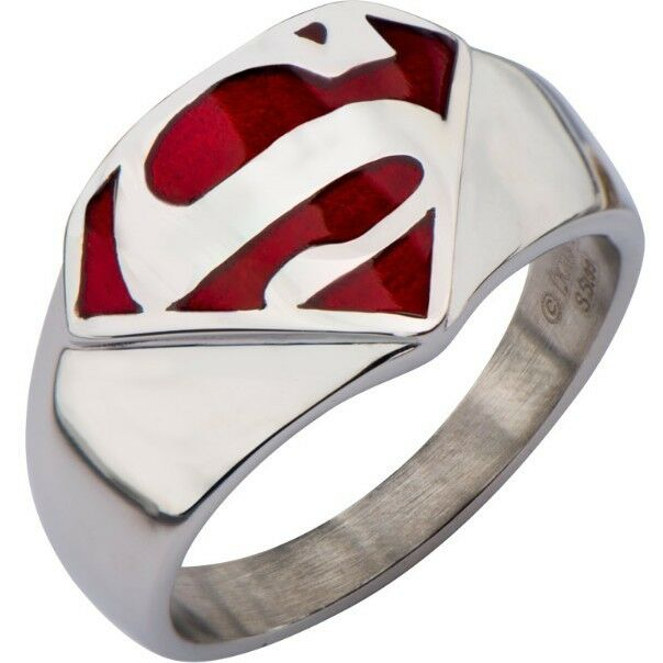 SZ 5-15 Superman Hero Comics Ring Stainless Steel Children Boy Birthday Gifts