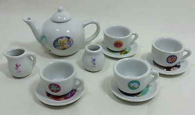 Disney Tinkerbell Fairies Set of 12  Miniature Tea Set Doll Child  Porcelain