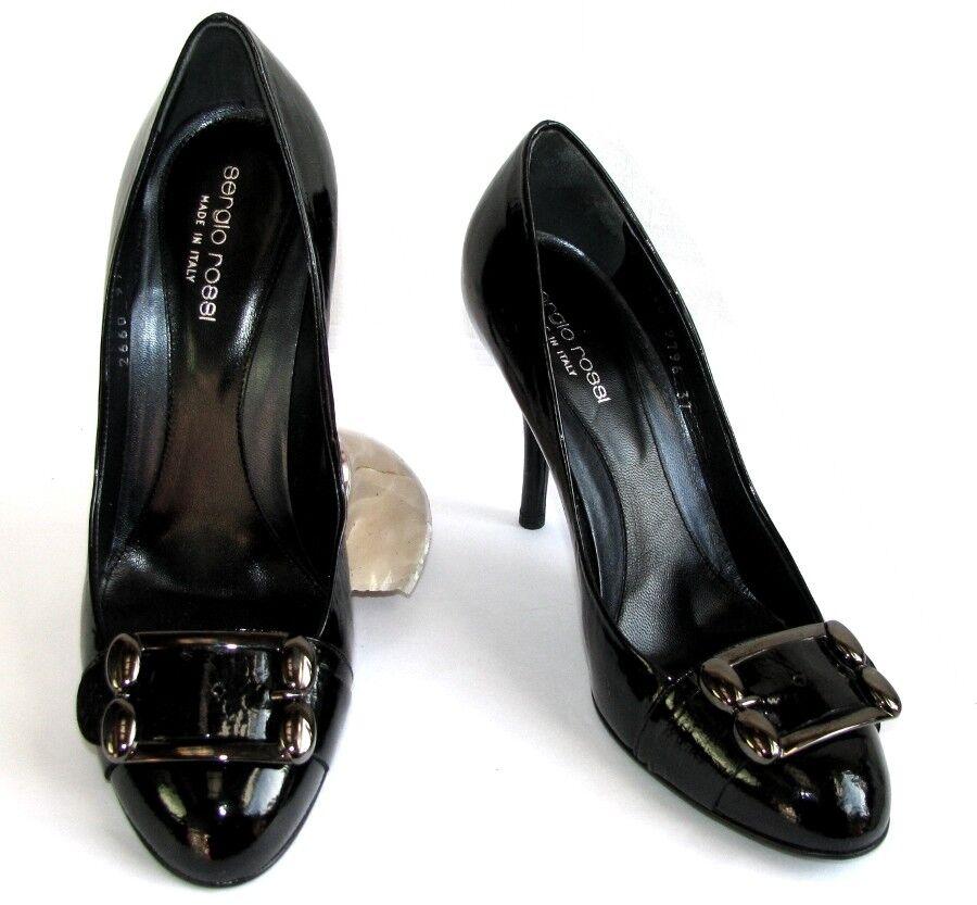 SERGIO ROSSI - Escarpins talons 9 cm  tout cuir verni noir 37 - EXCELLENT ETAT