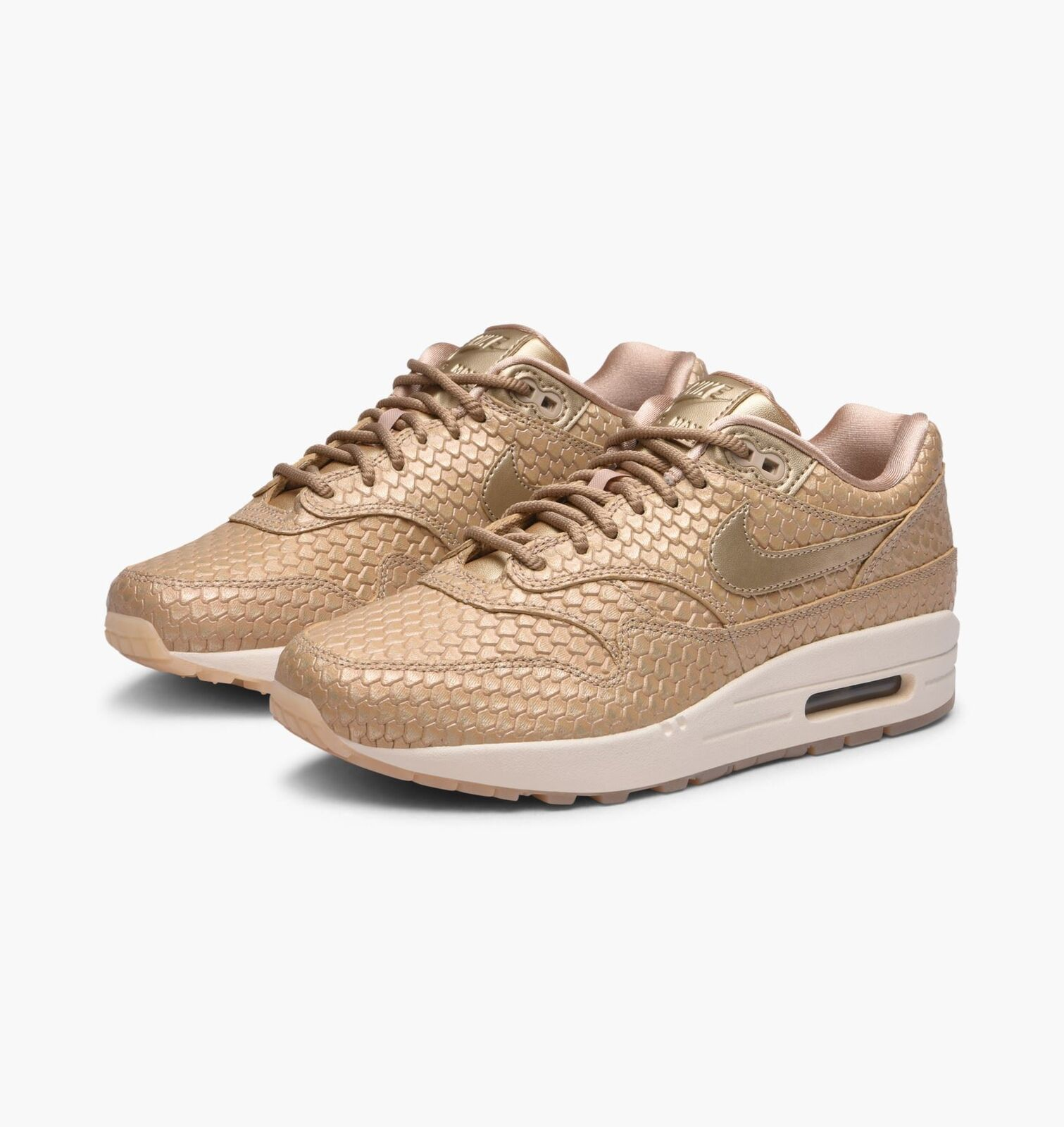 Nike damen Air Max 1 PRM Blaur and Light braun Trainers 454746 900