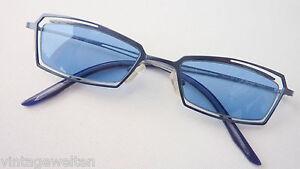 ECKart-leichte-filigrane-Sonnenbrille-blaue-Glaeser-schmale-Form-GR-M-Metall-NEU