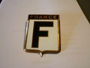 Sigle-insigne-logo-cuivre-voiture-FRANCE-F-blason-embleme-armoiries-Drago-Paris