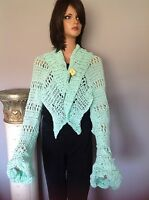 Cotton Shrug Shawl Wrap Hand Knit Lace Designer Fashion Summer Mint Unique Chic