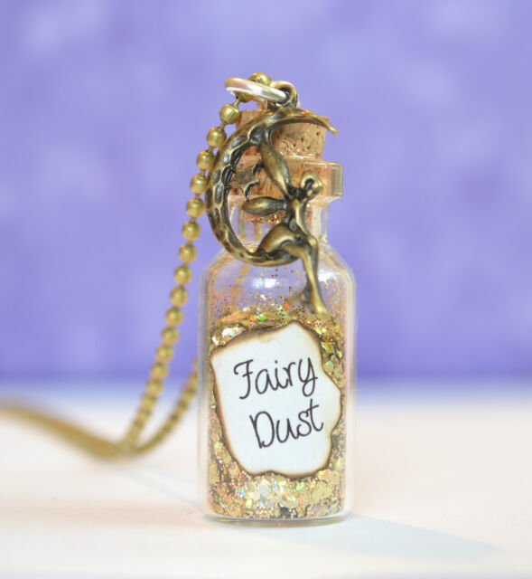 Fairy Dust Glass Bottle Pendant Necklace, fantasy,