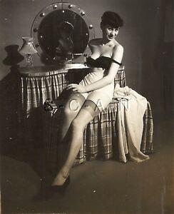 Original Vintage 1940s-50s Sepia Semi Nude RP- Brunette