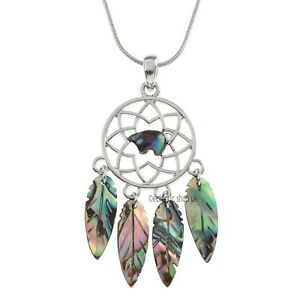 "Dream Catcher Paua Shell Pendant Chain Necklace 18"" TID"