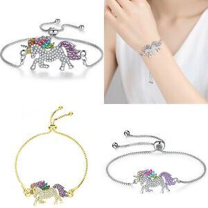 Colors-Unicorn-Animal-Horse-Rhinestone-Chain-Bracelet-Bangle-Women-Jewelry-New