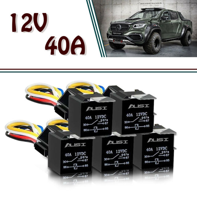 5 Pack 12v 30  40 Amp 5pin Spdt Automotive Relay With Wires